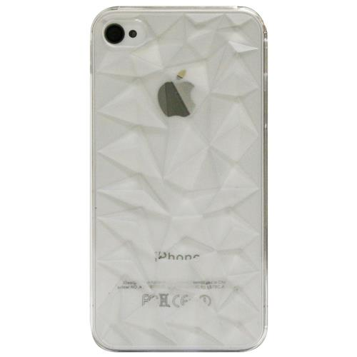 Exian iPhone 4/4S Hard Plastic Case 3D Diamond Pattern Transparent Clear