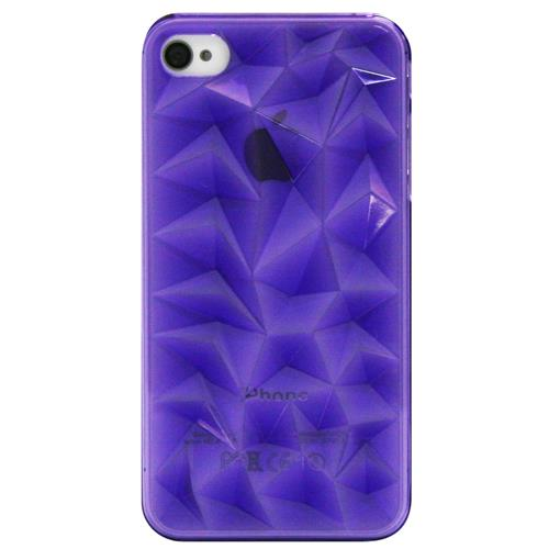 Exian iPhone 4/4S Hard Plastic Case 3D Diamond Pattern Transparent Purple