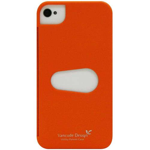 Exian iPhone 4/4S Hard Plastic Case with Card Slot Orange