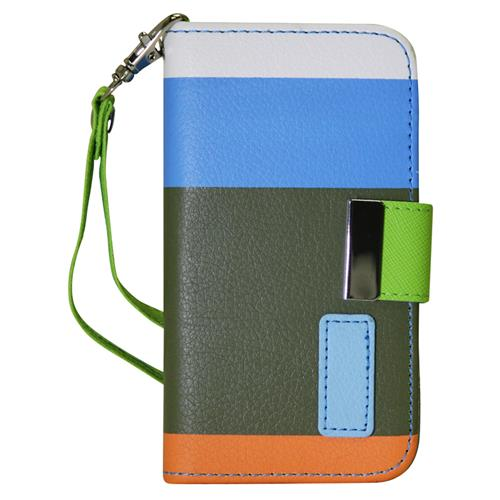 Exian iPhone 4/4S PU Leather Wallet Multi Color Blue