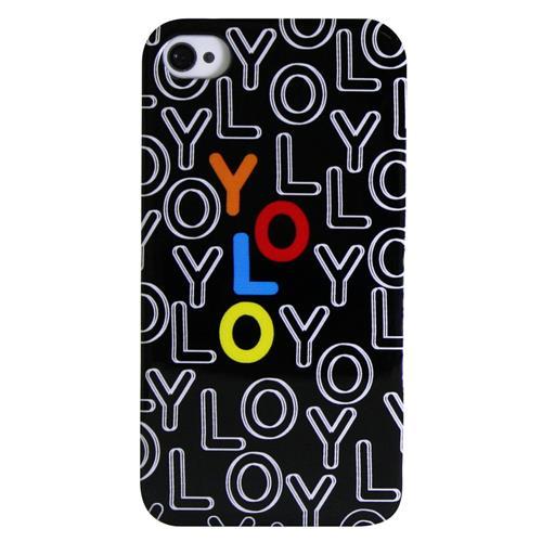 Exian iPhone 4/4S Hard Plastic Case Exian Design YOLO Black