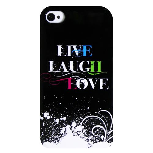 Exian iPhone 4/4S TPU Case Exian Design Live/Laugh/Love(2) Black