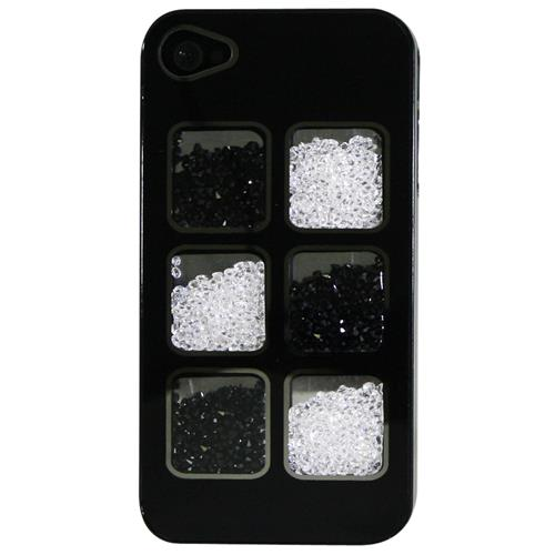 Exian iPhone 4/4S Hard Plastic Case with Loose Black & White Crystal in 6 Display Windows Black
