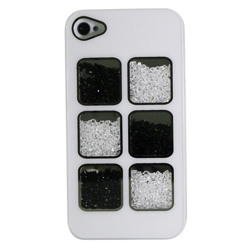 Exian Fitted Hard Shell Case for iPhone 4S;iPhone 4 - White;Black