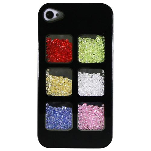 Exian iPhone 4/4S Hard Plastic Case with Loose Multi Color Crystal in 6 Display Windows Black