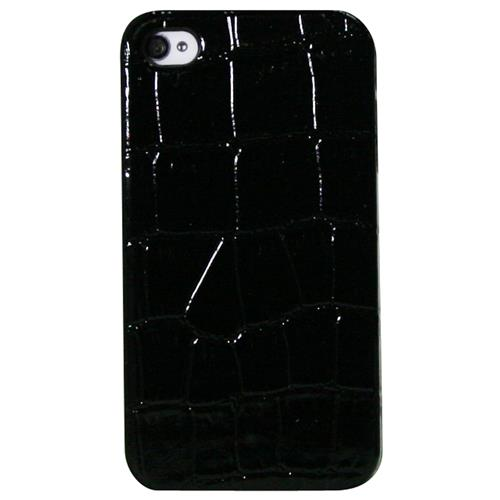 Exian iPhone 4/4S Hard Plastic Case Crocodile Skin Pattern Wrapped Black