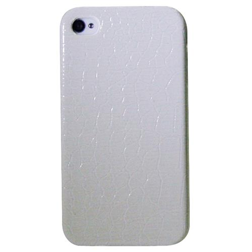 Exian iPhone 4/4S Hard Plastic Case Crocodile Skin Pattern Wrapped White
