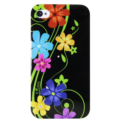 Exian iPhone 4/4S TPU Case Exian Design Multi Color Floral on Black