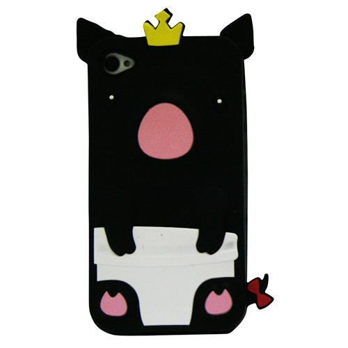 Exian iPhone 4/4S Silicone Case Pig Black