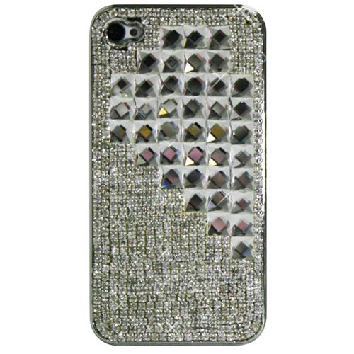 Exian iPhone 4/4S Hard Plastic Case Crystal in Heart Pattern Clear