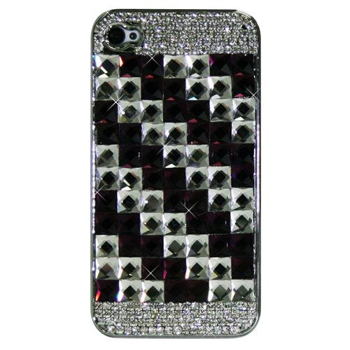 Exian iPhone 4/4S Hard Plastic Case Crystal in Square Pattern Purple/Silver