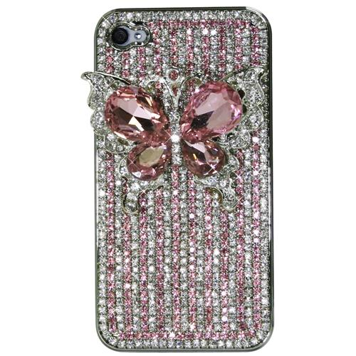 Exian iPhone 4/4S Hard Plastic Case Crystal with 3D Butterfly Pink