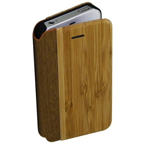 Exian iPhone 4/4S Real Wood Wallet Light Brown