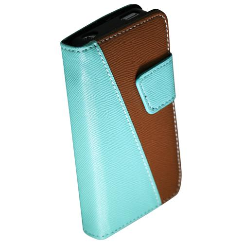 Exian iPhone 4/4S PU Leather Wallet 2-Tone Color Green/Brown