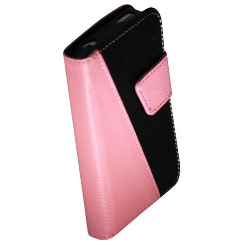 Exian iPhone 4/4S PU Leather Wallet 2-Tone Color Pink/Black