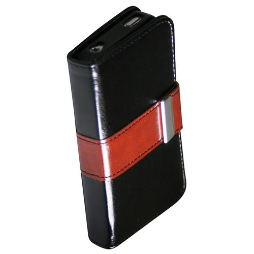 Exian iPhone 4/4S PU Leather Wallet Black/Brown