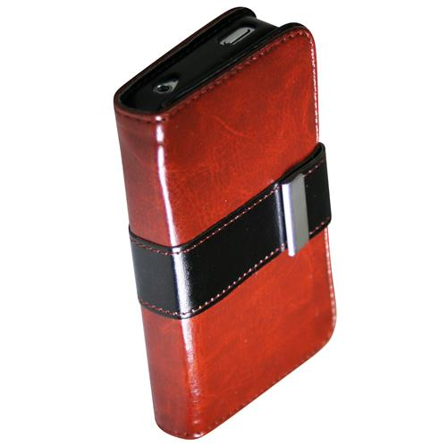 Exian iPhone 4/4S PU Leather Wallet Brown/Black