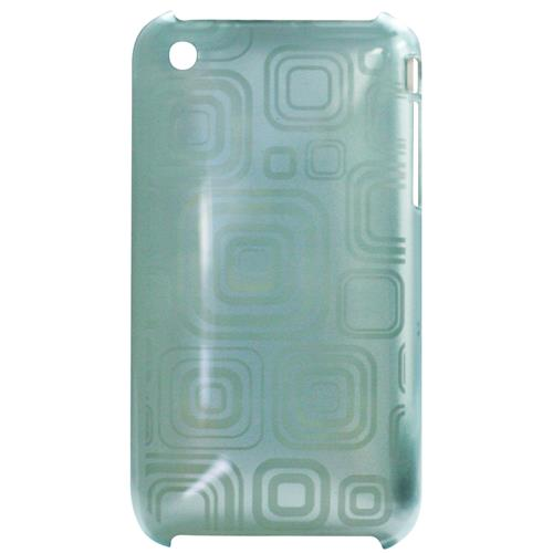 Exian iPhone 3G/3GS Hard Plastic Case Squares Pattern on Blue