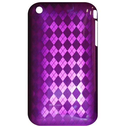 Exian iPhone 3G/3GS Hard Plastic Case Diamond Pattern on Purple