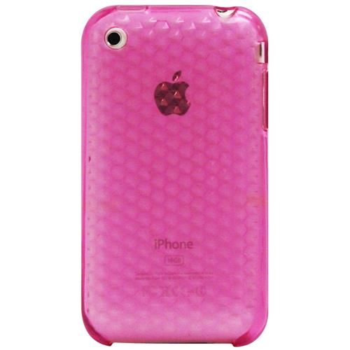 Exian iPhone 3G/3GS Silicone Case with Hexagonal Pattern Transparent Pink