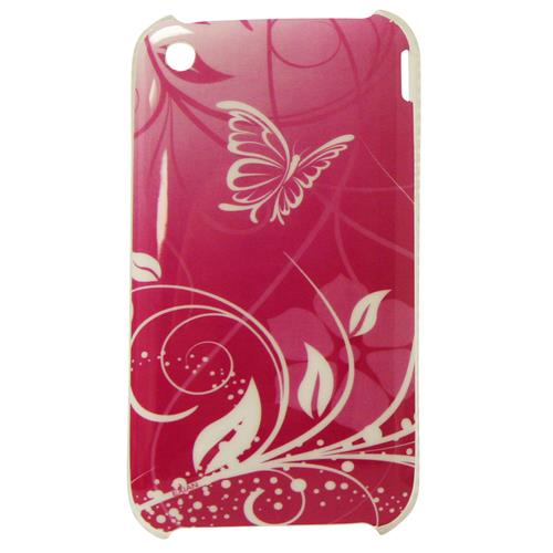 Exian iPhone 3G/3GS Hard Plastic Case Exian Design Flower & Butterfly Pink