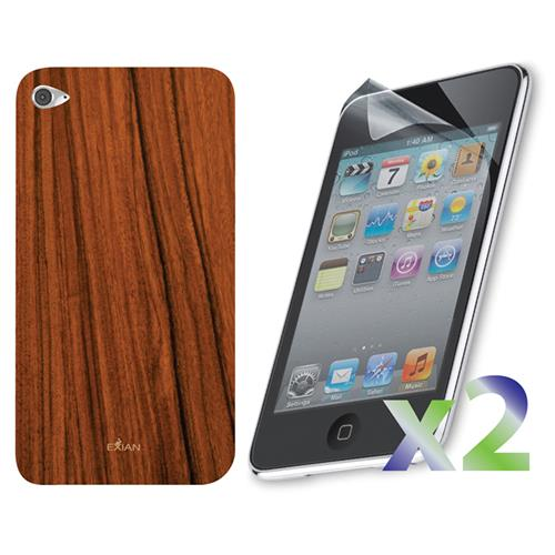 Exian iPod Touch 4 Screen Protectors X 2 and TPU Case Exian Design Wood Pattern Brown