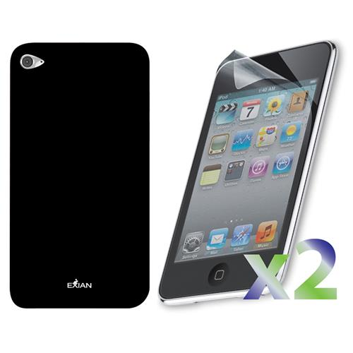 Exian iPod Touch 4 Screen Protectors X 2 and TPU Case Exian Design Solid Black