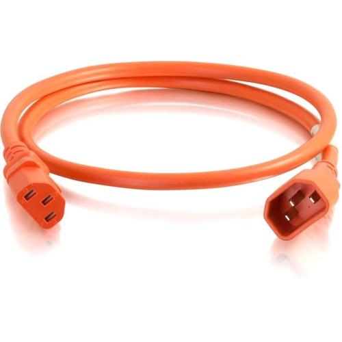 C2G 10ft 14AWG Power Cord (IEC320C14 to IEC320C13) - Orange