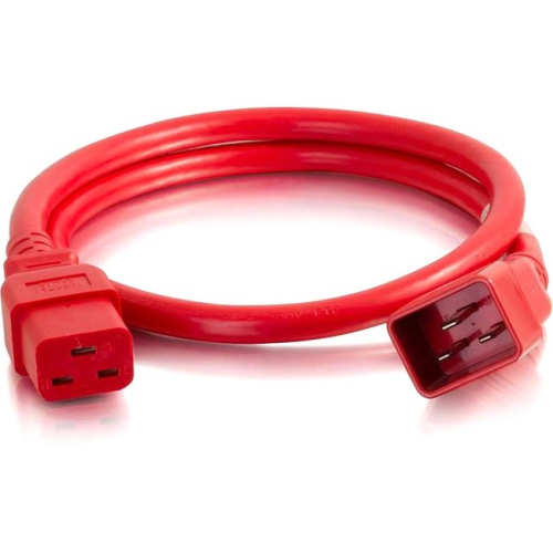 C2G 3ft 12AWG Power Cord (IEC320C20 to IEC320C19) -Red