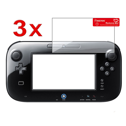 Insten 3-Pack Clear LCD Screen Protector Film Cover For Nintendo Wii U