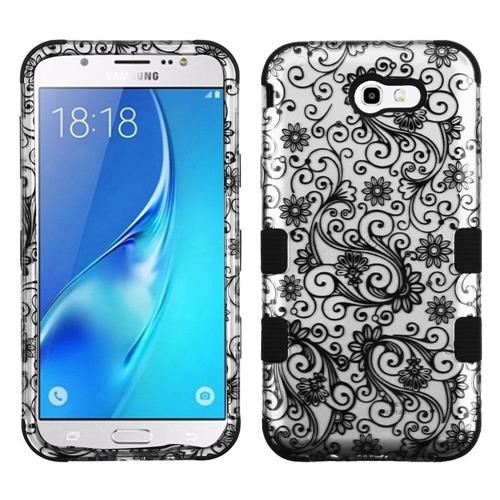 Insten Four-leaf Clover Hard Cover Case For Samsung Galaxy J7 (2017)/J7 Perx/J7 Sky Pro/J7 V, Black