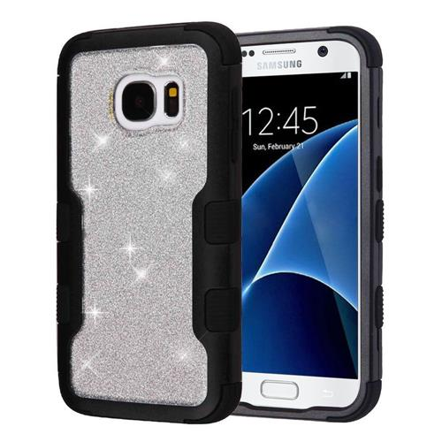 Insten Tuff Hard Dual Layer Glitter TPU Cover Case For Samsung Galaxy S7 - Silver/Black
