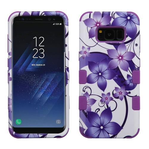 Insten Hibiscus Flower Romance Hard Hybrid Rubber Coated Silicone Case For Samsung Galaxy S8, Purple