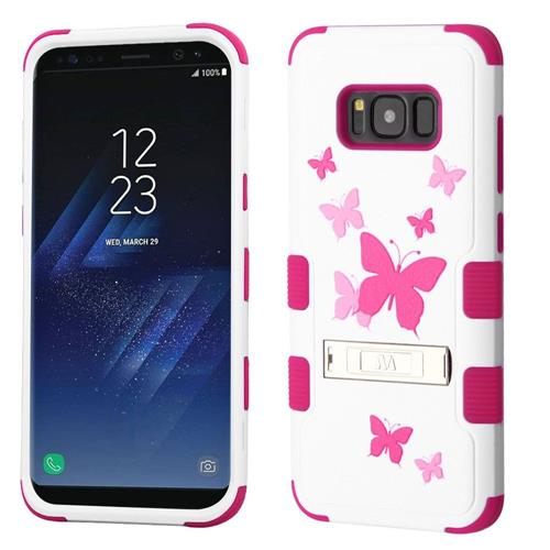 Insten Butterfly Dancing Hard Hybrid Rubber Silicone Case w/stand For Samsung Galaxy S8, White/Pink