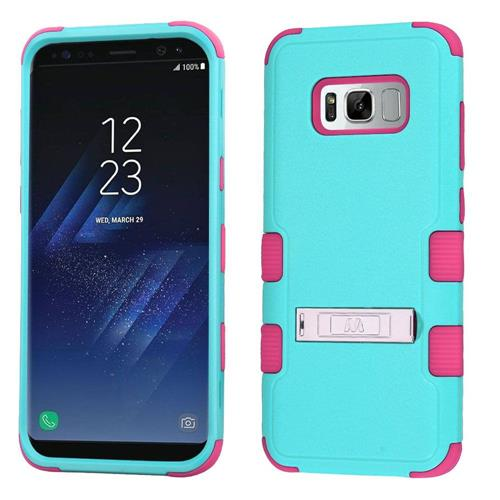 Insten Hard Hybrid Rubber Coated Silicone Cover Case w/stand For Samsung Galaxy S8, Teal/Hot Pink
