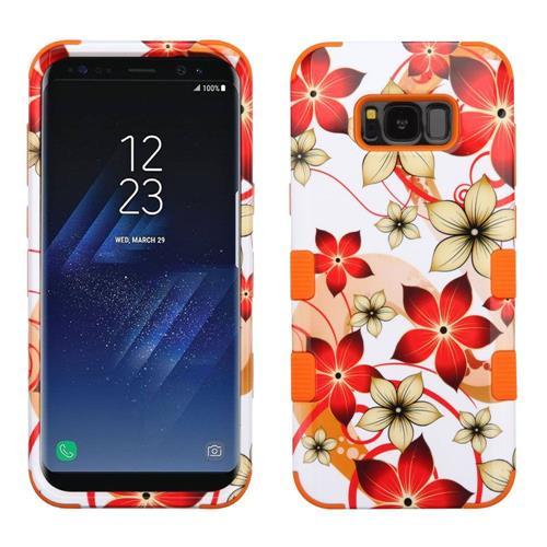 Insten Hibiscus Flower Romance Hard Hybrid Silicone Case For Samsung Galaxy S8 Plus, Orange/White