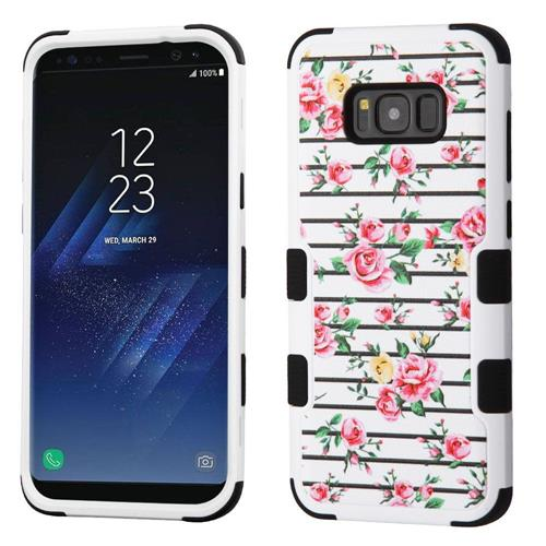 Insten Tuff Fresh Roses Hard Hybrid Silicone Cover Case For Samsung Galaxy S8 Plus - White/Pink
