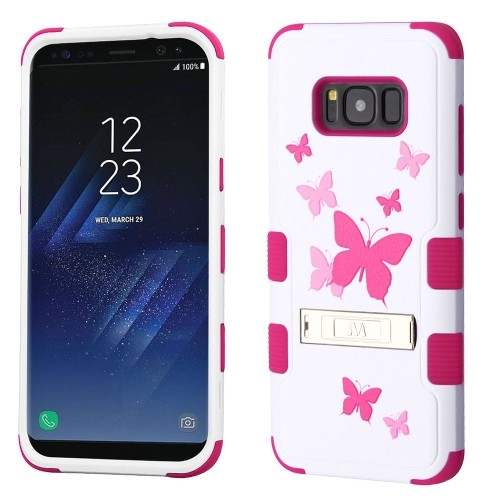 Insten Butterfly Dancing Hard Rubber Cover Case w/stand For Samsung Galaxy S8 Plus, White/Pink
