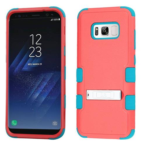 Insten Tuff Hard Dual Layer Rubber Silicone Case w/stand For Samsung Galaxy S8 Plus - Baby Red/Teal