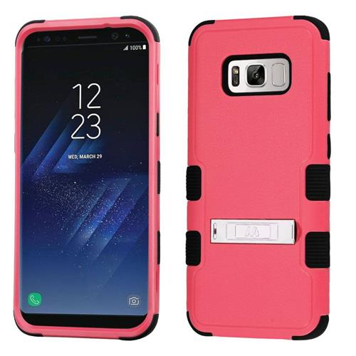 Insten Hard Hybrid Rubber Silicone Cover Case w/stand For Samsung Galaxy S8 Plus, Hot Pink/Black