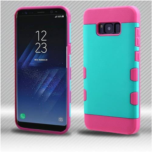 Insten Tuff Hard Hybrid TPU Cover Case For Samsung Galaxy S8 Plus - Teal/Hot Pink