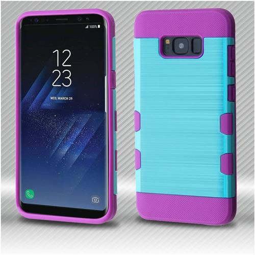 Insten Tuff Hard Hybrid Brushed TPU Cover Case For Samsung Galaxy S8 Plus - Blue/Purple
