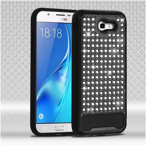 Insten Hybrid Rhinestone Silicone Case For Samsung Galaxy J7 (2017)/J7 Perx/J7 Sky Pro/J7 V, Black