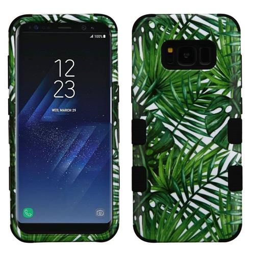 Insten Tuff Tropical Palms Hard Hybrid Rubberized Silicone Case For Samsung Galaxy S8 - Green