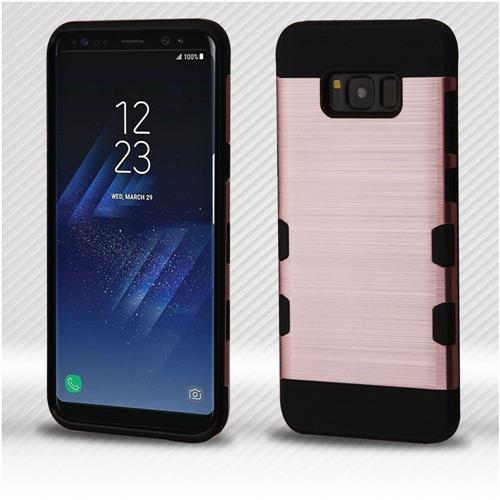 Insten Tuff Hard Hybrid Brushed TPU Case For Samsung Galaxy S8 - Rose Gold/Black