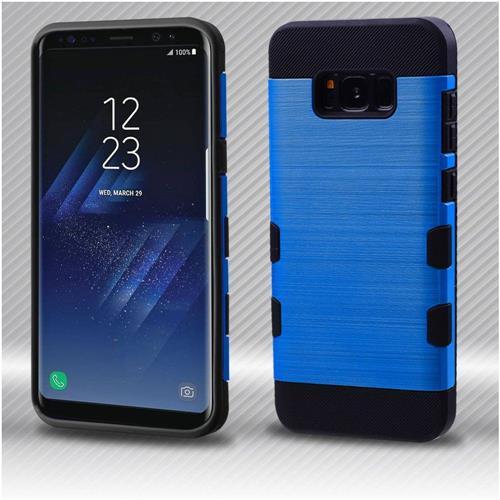 Insten Tuff Hard Hybrid Brushed TPU Cover Case For Samsung Galaxy S8 - Dark Blue/Black