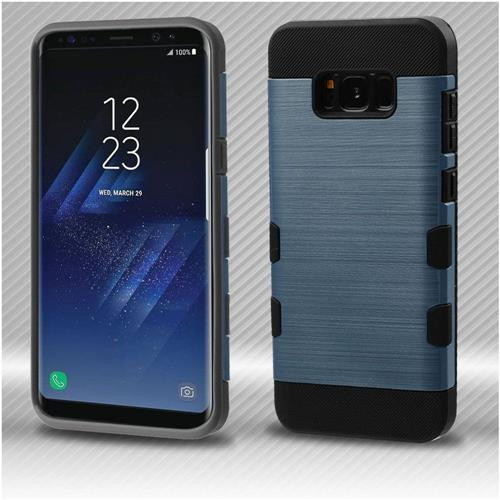 Insten Tuff Hard Dual Layer Brushed TPU Case For Samsung Galaxy S8 - Blue/Black