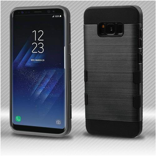 Insten Tuff Hard Dual Layer Brushed TPU Cover Case For Samsung Galaxy S8 - Black