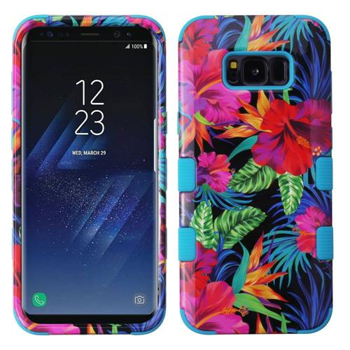 Insten Hibiscus Flowers Hard Hybrid Rubber Silicone Cover Case For Samsung Galaxy S8 Plus, Colorful