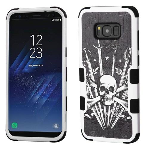 Insten Sword & Skull Hard Hybrid Rubber Silicone Cover Case For Samsung Galaxy S8 Plus, Black/White